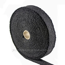 BLACK 50' FIBERGLASS EXHAUST HEADER WRAP TURBO TAPE CLOTH INSULATION THERMO B150