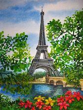 Watercolor Painting France Paris City Tour Eiffel Tower Park Nature Flowers 5x7