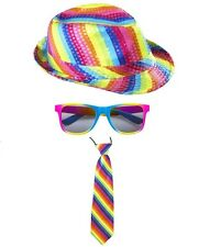 Unisex Rainbow Sequinned Fedora Hat Glasses Tie Gay Pride Carnival Fancy Dress