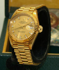 ROLEX 18K GOLD AUTOMATIC DATEJUST PRESIDENT WATCH DIAMOND DIAL 6917 BOX & PAPERS