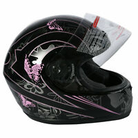 DOT ADULT Black Butterfly Motorcycle Street Full Face Helmet Size S M L XL XXL