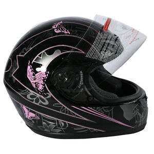 DOT ADULT Black Butterfly Motorcycle Street Full Face Helmet Size S M L XL XXL