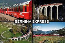 SOUVENIR FRIDGE MAGNET of THE BERNINA EXPRESS TRAIN SWITZERLAND