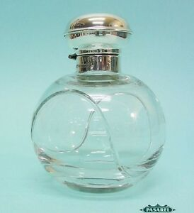 Novelty English Sterling Silver Mounted Glass Tennis Ball Perfume Scent Bottle