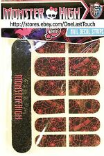 MONSTER HIGH 12 Nail Decals+File BLACK+PINK SPIDER WEBS Peel+Apply STRIPS New!