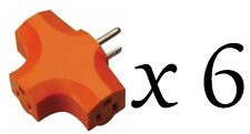 6 Lot Of 3 Way Outlet Wall Plug Adapter (T Shaped Wall Tap) 3 Prong Orange NEW