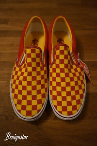 Vans Classic Slip On Trainers Checkerboard Red Yellow UK11