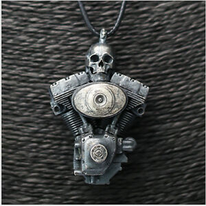 Real 925 Sterling Silver Pendant Engine Skull Jewelry