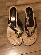 DOLLHOUSE Paula Brown Cork Sandals Kitten Heels Womens Shoe Size 8 Gorgeous ~WOW