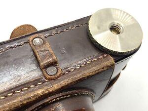 """Leica Leitz Nickel Screw Mount 3/8"""" Leather Case Military 'K' Mark - Rare"""