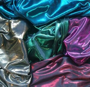 Metallic Spandex 150cm wide-Emerald.Only pay one small COMBINED postal charge.