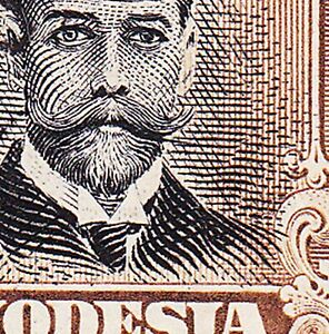Rhodesia 1913 2/- DIE 1 P14 VAR WAXED MOUSTACHE SG214a-NEWLY LISTED IN SG £600