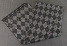 Enrico Milano 100% Silk Scarf Argyle Black & Gray (Grey)