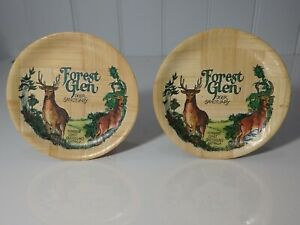 Vintage Pair Australian Bamboo Eco Small Plates Forest Glen Sunshine Coast 1980
