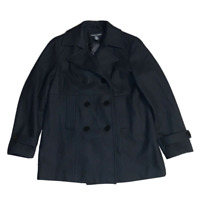 New York & Company Womens Peacoat Double Breasted Black Jacket Wool Size 14