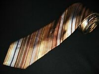 IKE Behar Tie Gold Stripe Satin Luxury Designer 100% Silk New York Necktie Mens