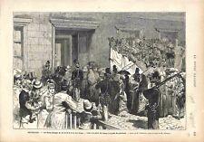Bruxelles Noce d'Argent du Roi & la Reine des Belges Palais Royal GRAVURE 1878