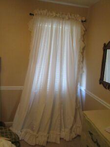 """Dorothy's Original Ruffled Curtain Panels 84x96"""" White 6"""" Ruffle Ivory Cord Ties"""