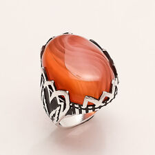 Striped Red Sardonyx Agate Mens Ring 925 Sterling Silver Ottoman Turkish Jewelry