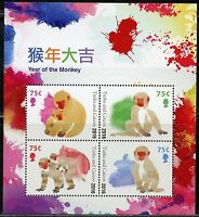 TURKS & CAICOS   2016 LUNAR NEW YEAR OF THE MONKEY SHEET MINT NH