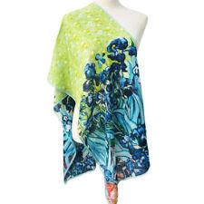 "Oblong 100% Charmeuse Silk Scarf Shawl Wrap Van Gogh's ""Irises"" Art Oil Painting"