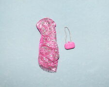 Pink Bunched w/ Sheer Cover & Silver Accents Genuine Barbie Party Dress w/ Purse