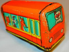 VINTAGE Russian Soviet USSR TIN TOY metal CAR Bus animals red Doll House cat old