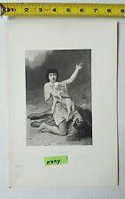 Etching Impressed Antique of King David as Shepherd Salon 1895 by E Gardner