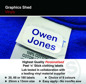 Stick on Clothing Name Labels Clothes School Uniform Care Home
