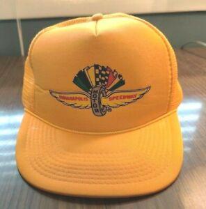 Vintage Indianapolis Motor Speedway Men's Yellow Mesh Snapback Trucker Hat Cap
