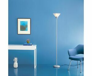 New Bright Torchiere Tall Floor Lamp Black With LED Bulb Bedroom Living Room