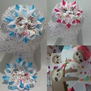 Handmade cute sloth animal grosgrain Harajuku romany hair bows in pink or blue