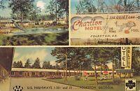 Folkston Georgia 1964 Postcard Charlton Motel Swimming Pool