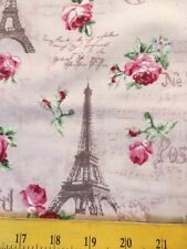 Quilt Gate Fabrics Eiffel Towers Pink Roses & French Script Pink 4 Quilts