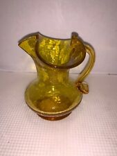 Vintage Marigold CRACKLE GLASS PITCHER RUFFLED EDGE 4 1/4""