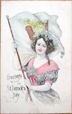 1916 St. Patrick's Day Postcard-Woman w/Irish Harp Flag