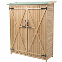 "64"" Wooden Storage Shed Cabinet Garden Outdoor Fir Wood Lockers Double Doors"
