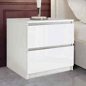 Bedside Table Cabinet Nightstand 2 Draw White Chest of Drawers Bedroom Furniture