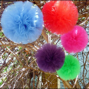 Tulle Pom Poms Ball Hanging Centerpiece, 4-Pack