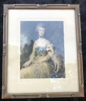 Mrs. Mary Robinson (Perdita) by Gainsborough Litho in Carved Art Nouvea Frame