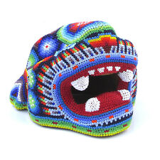 Huichol Beaded Jaguar Head Handcrafted Wooden Sculpture Mexican Folk Art