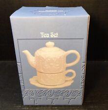 CIB Tea for One White Embossed Antique Impression Tile Tea Set New in Orig Box