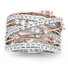 Women Luxury Wide Crystal Rhinestone Zircon Ring Wedding Party Jewelry Gift YG