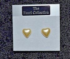 New Gold colour base metal Cream Glass Pearl Heart Earrings