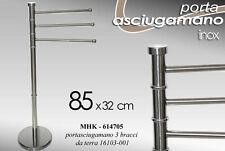 PIANTANA PORTA ASCIUGAMANO H85 3 ASTE BRACCIA ACCIAIO CROM MHK 614705