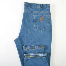 Carhartt B21DST Flannel Lined Jeans Relaxed Straight Leg Blue Denim Mens 44X30