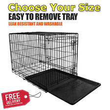 Vibrant Dog Crate Kennel Folding Pet Cage Metal Double Door Tray Pan W/ Divider