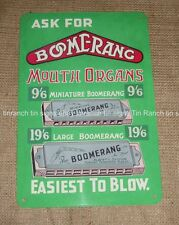 BOOMERANG mouth organs TIN SIGN harmonica Blues Country music vintage instrument