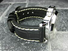 BIG CROCO 24mm Black Genuine Grain Leather Strap Watch Band PAM 44