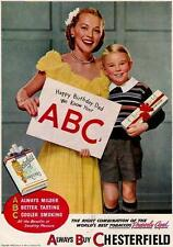1946 HAPPY BIRTHDAY DAD AD FOR CHESTERFIELD CIGARETTES